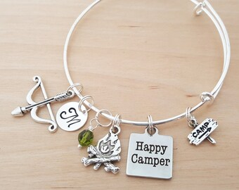 Happy Camper Bracelet - Personalized Bracelet - Adjustable Bangle Bracelet - Birthstone Bracelet - Personalized Jewelry - Silver Bangle