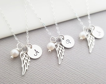 Personalized Angel Wing Necklace - Memorial Necklace - Miscarriage Necklace - Loss Necklace - Sterling Silver - Memorial Gift for Her