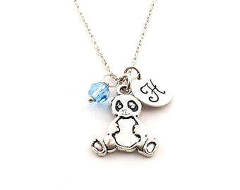 Sweet Panda Charm-  Birthstone Necklace - Personalized Initial Necklace - Sterling Silver Jewelry - Gift for Her