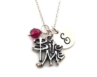 Bite Me Charm-  Birthstone Necklace - Personalized Initial Necklace - Sterling Silver Jewelry - Gift for Her