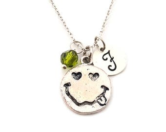 Smiley Face with Stuck-Out Tongue Charm-  Birthstone Necklace - Personalized Initial Necklace - Sterling Silver Jewelry - Gift for Her