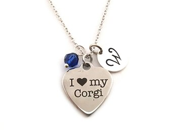 I Heart My Corgi Charm-  Birthstone Necklace - Personalized Initial Necklace - Sterling Silver Jewelry - Gift for Her