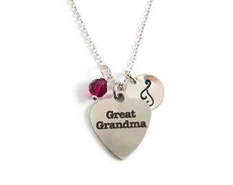 Great Grandma Charm- Birthstone Necklace - Personalized Initial Necklace - Sterling Silver Jewelry - Gift for Her