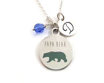 Papa Bear Charm-  Birthstone Necklace - Personalized Initial Necklace - Sterling Silver Jewelry - Gift for Her