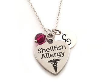 Shellfish Allergy Caduceus Charm-  Birthstone Necklace - Personalized Initial Necklace - Sterling Silver Jewelry - Gift for Her