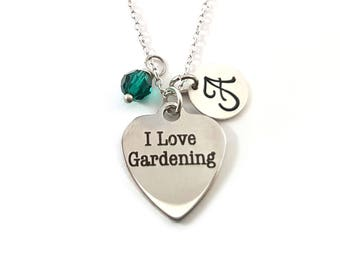 I Love Gardening Charm-  Birthstone Necklace - Personalized Initial Necklace - Sterling Silver Jewelry - Gift for Her