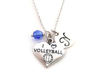 I Heart Volleyball Charm-  Birthstone Necklace - Personalized Initial Necklace - Sterling Silver Jewelry - Gift for Her
