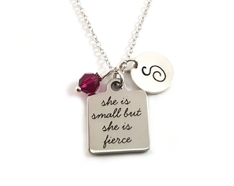 She is Small but She is Fierce Charm -  Birthstone Necklace - Personalized Initial Necklace - Sterling Silver Jewelry - Gift for Her
