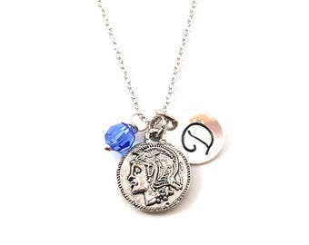 Ancient Roman Coin Charm -  Birthstone Necklace - Personalized Initial Necklace - Sterling Silver Jewelry - Gift for Her