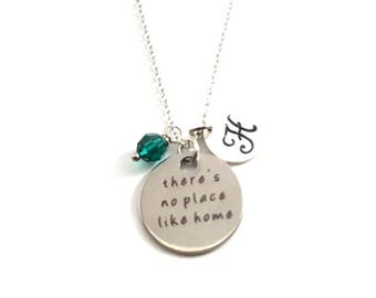 There's No Place Like Home Charm -  Birthstone Necklace - Personalized Initial Necklace - Sterling Silver Jewelry - Gift for Her
