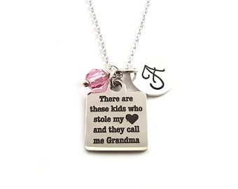 They Call Me Grandma Charm-  Birthstone Necklace - Personalized Initial Necklace - Sterling Silver Jewelry - Gift for Her