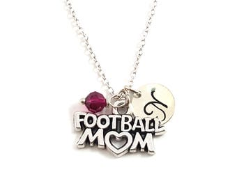 Football Mom Charm-  Birthstone Necklace - Personalized Initial Necklace - Sterling Silver Jewelry - Gift for Her