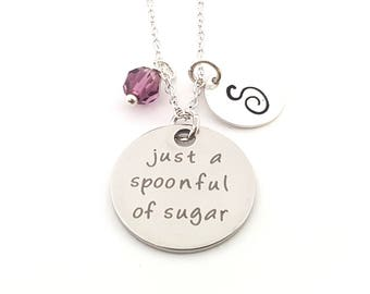 Just a Spoonful of Sugar Charm-  Birthstone Necklace - Personalized Initial Necklace - Sterling Silver Jewelry - Gift for Her