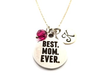 Best Mom Ever Charm- Cute Charm-  Birthstone Necklace - Personalized Initial Necklace - Sterling Silver Jewelry - Gift For Mom - Mom