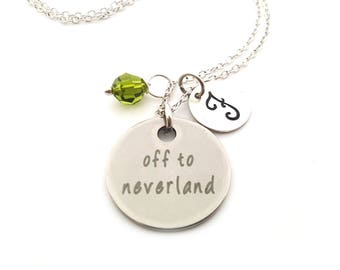 Neverland Charm-  Birthstone Necklace - Personalized Initial Necklace - Sterling Silver Jewelry - Gift for Her