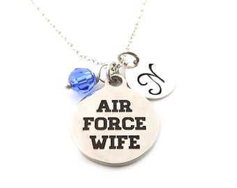 Air Force Charm-  Birthstone Necklace - Personalized Initial Necklace - Sterling Silver Jewelry - Gift for Her