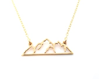 Mountain Skyline Bar 14k Gold Filled Necklace - Dainty Minimalist Handmade Jewelry - Gift for Her