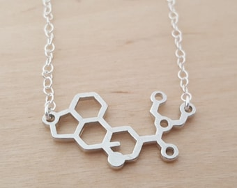 LSD Necklace - Molecule Necklace - Science Necklace - Geek Necklace - Sterling Silver Necklace - Simple Jewelry / Gift for Her