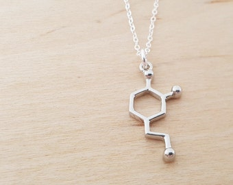 Dopamine Necklace - Molecule Necklace - Science Necklace - Geek Necklace - Sterling Silver Necklace - Simple Jewelry / Gift for Her