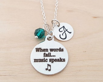 When Words Fail Music Speaks Necklace -  Swarovski Birthstone - Custom Initial - Personalized Sterling Silver Necklace / Gift for Her