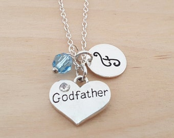 Godfather Necklace - Godfather Charm - Birthstone Necklace - Personalized Gift - Initial Necklace - Sterling Silver Jewelry - Gift for Her