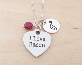 I Love Bacon Necklace - Swarovski Birthstone Initial Personalized Sterling Silver Necklace / Bacon Charm - Gift for Her