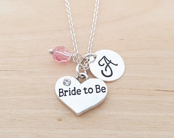 Bride to Be Charm Swarovski Birthstone Initial Personalized Sterling Silver Necklace / Gift for Her - Engagement Necklace