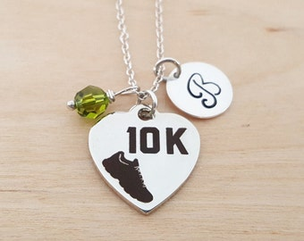 10k Running Charm Swarovski Birthstone Initial Personalized Sterling Silver  Necklace   Gift for Her - Runner Necklace da5a3d0bd2