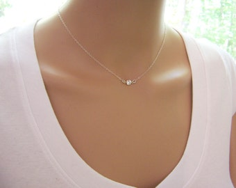 e53de6fab Tiny Diamond Necklace - CZ Necklace - Sterling Silver Necklace - Dainty  Necklace - Simple Jewelry - Choker Necklace - Gift for Her