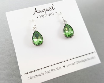 August Birthstone Earrings - Green Peridot Crystal Sterling Silver Teardrop Earrings - Gift for Her