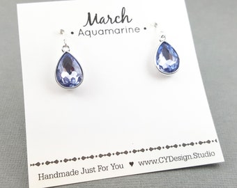 March Birthstone Earrings - Aquamarine Crystal Sterling Silver Teardrop Earrings - Gift for Her