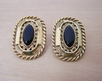 Vintage Ornate Gold Tone Black Marquee Clip On Earrings / Gift for Her / C250
