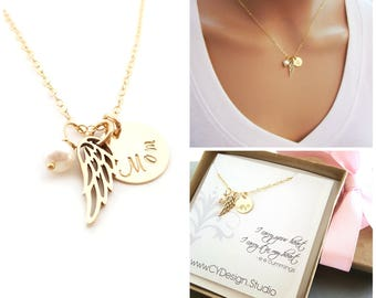 Mom / Dad Sympathy Angel Wing Necklace - Memorial Jewelry - 14k Gold Filled - Memorial Jewelry - Custom Handstamped Loss Gift