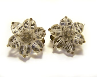 Vintage Facted Clear Glass Cluster Clip On Earrings / Gift for Her / I284