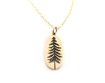 Pine Tree Charm Necklace - Dainty 14k Gold Filled Jewelry - Gift for Her