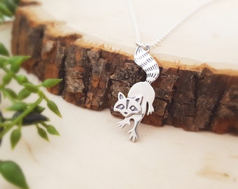 Raccoon Charm Necklace - Sterling Silver - Woodland Animal Necklace - Gift for Her