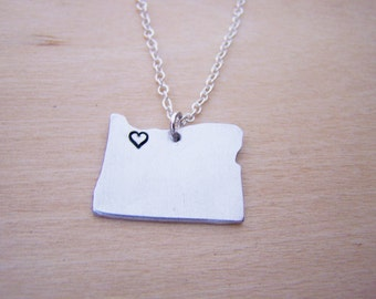 Hand Stamped Heart Oregon State Sterling Silver Necklace / Gift for Her