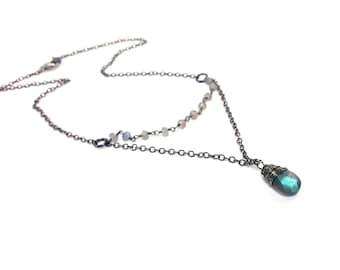 Oxidized Sterling Silver Labradorite Necklace - 2017 GBK Golden Globes - Black Chain Gemstone - Gift for Her
