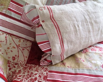 Vintage French  TEA TOWEL  and mattress cushion, Cover with insert cushion Tea Towel