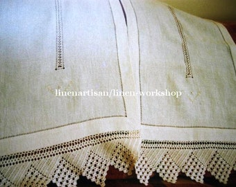 Linen and lace curtains, Irish linen curtains, handmade hemstitched n' drawn-work curtains