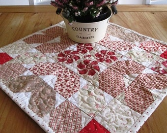Quilt table topper, Red shape table mat, Table Quilt, Ivory and red Table Decor