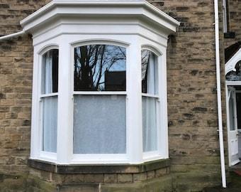Bay windows Irish linen Curtains, Hemstitched Irish curtains, Drawn-work embroidery on Linen