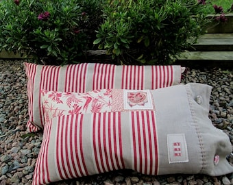 Ticking mattress cover cushion, ticking mattress and flower print cushion, red print n' stripes French inspired pillow