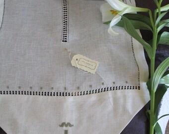 Embroidered hemstitch linen curtain, drawn-thread embroidery curtain, sheer linen curtains