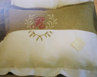 Monogrammed Linen Cover cushion  , French style Pillow cover embroidered on Linen