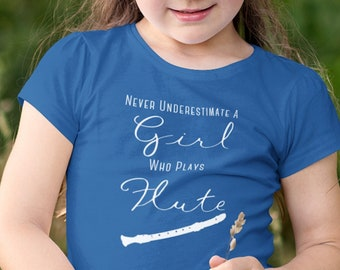 Never Underestimate A Girl Who Plays The FLUTE  Band Girl Youth Short Sleeve T-Shirt