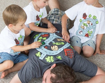 Road Map Race Track Shirt For Matchbox Car Gift for Dad and Son. Car Play Mat on Back off Shirt.