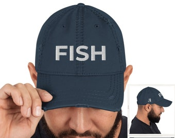 Fish 3D Embroidered 2 Sides Distressed Hat for Fishing Fisherman Gift for Him or Her
