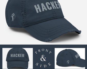 Hacker Golf Hat Embroidered 3D Distressed Vintage Style Customized Baseball Ball Cap Golfer Personalized Gift