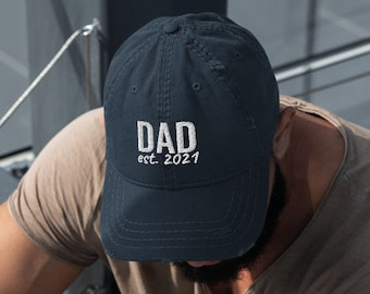 PERSONALIZED Dad Est. Year Names Colors Distressed Hat new Dad First Fathers Day Gift